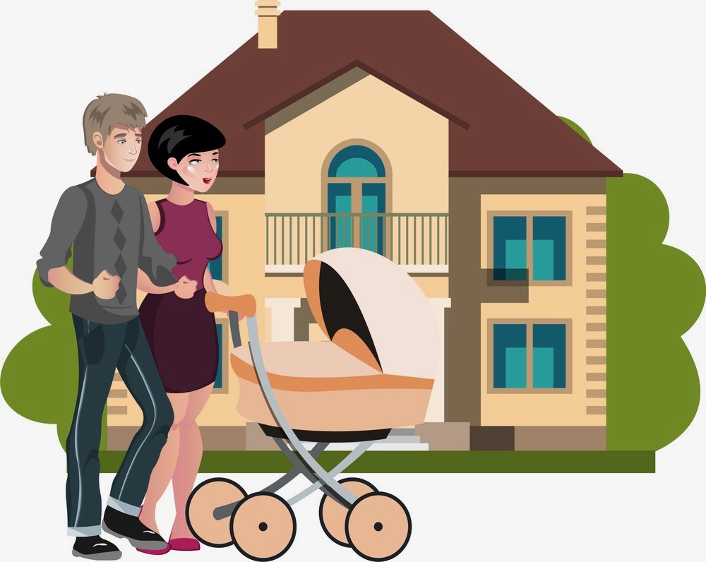 young-family-outside-in-front-new-house-vector-17731352 2
